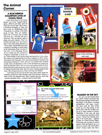 Our retired female (Kami) was featured in the local Canal Walk Newspaper in Somerset NJ. May 2018 issue.