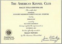Kaya, Keeshond Show Championship Dog Award.