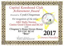 Boo, CKC award.