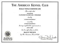Jossa, Rally title certificate.