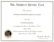 Kayah Canine Good Citizenship Certficate.